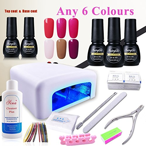 (Pick Any 6 Colors) Nail Art Polish Top Base 36W UV Lamp ...