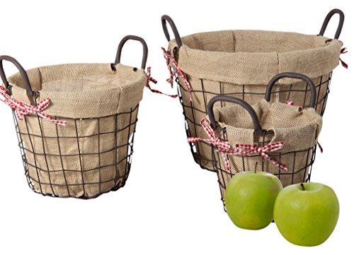 Homebeez Circular Rustic Vintage-Inspired Iron Baskets with Dark Brown Handles (Set of 3), Bronze