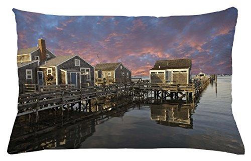 Nantucket Throw Pillow (United States Throw Pillow Cushion Cover by Ambesonne, Sunset over Nantucket Massachusetts Dramatic Sky Clouds Pond Houses, Decorative Accent Pillow Case, 26 W X 16 L Inches, Coral Blue Sepia)