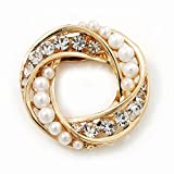 White Synthetic Pearl & Clear Diamante Round Scarf Pin In Gold Finish - 3.5cm Diameter