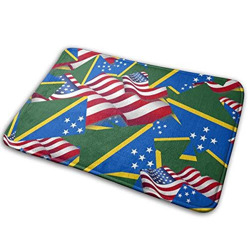 - ACBULU Doormat Solomon Islands Flag with America Flag Entrance Rug Indoor/Outdoor Door Shoe Scraper Entryway,Garage and Laundry Room Floor Mat,15.7X23.6in