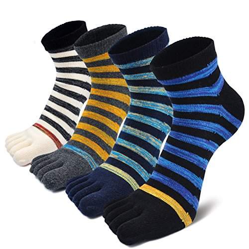 Mens Striped and Classic Argyle Toe Socks Assorted Set Five Finger Cotton Crew Socks (US Shoes Size:7-11, Mixed Color-4 Pairs)