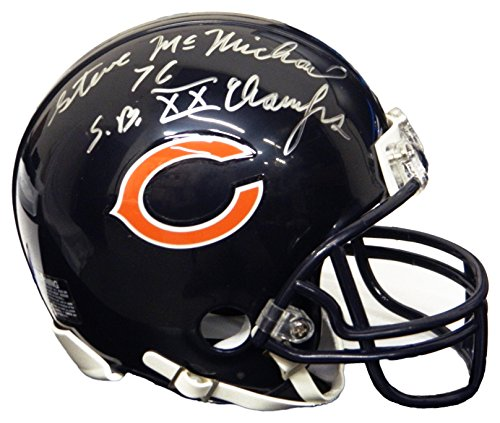 Champs Helmet Riddell Mini (Steve McMichael Signed Chicago Bears Riddell Mini Helmet w/SB XX Champs)