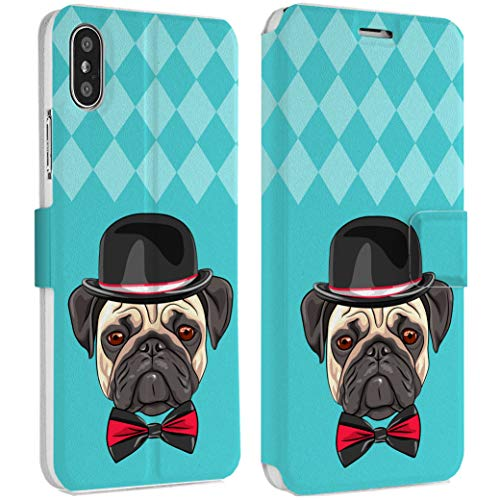 Wonder Wild Sir Pug IPhone Wallet Case X/Xs Xs Max Xr 7/8 Plus 6/6s Plus Card Holder Accessories Smart Flip Hard Design Protection Cover Animal Doggy Sophisticated Mister Bow Tie Bowler Hat England