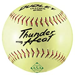 DUDLEY SOFTBALL ASA THUNDER HEAT HYCON, LEATHER COVER SZ 12, SLOW PITCH, POLY CENTER, COR:.52/COMPRESSION 300.