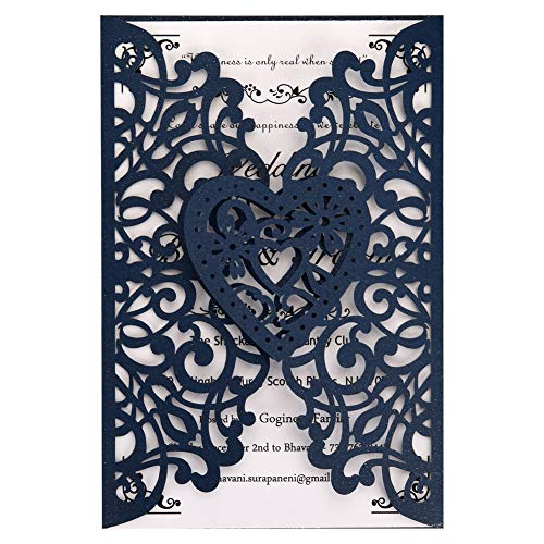 Laser Cut Wedding Invitations Kit 50 Packs FOMTOR Laser Cut Wedding Invitations with Blank Printable Paper and Envelopes for Wedding,Birthday Parties,Baby Shower (Navy Blue)