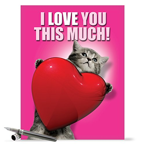 J1644VDG Jumbo Funny Valentine's Day Card: Love You This Much Cat With Envelope (Extra Large Version: 8.5'' x 11'')