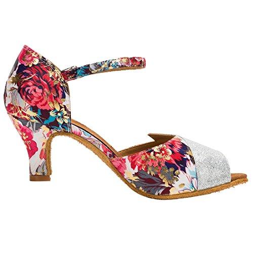 TDA Satin Shoes Glitter Ballroom Salsa Toe Latin Dance Wedding Tango Modern Floral Peep Red Women's rOqtwXr