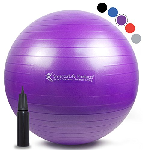 Exercise Ball for Yoga, Pilates, Therapy, Balance, Stability, Posture Support, Desk Chair and Birthing | Anti Burst, Non Slip Design | Workout Guide + eBook | Multiple Sizes (Purple, 45 cm) (Burst Design Purple)