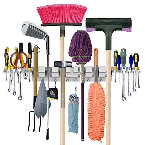 Anybest Utility Mop Broom Holders Wall-Mounted Garden Tool Rack Garage Storage & Organization Hangers 6-Positions 6-Hooks & 2-Tool Platforms (1 Pack)