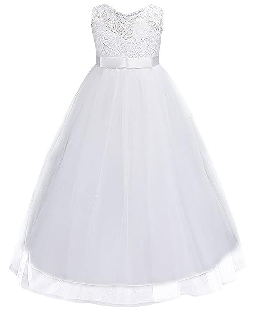 La Vogue Vestido de Fiesta Boda con Hueco Encaje para Niña Chica Blanco Talla 120