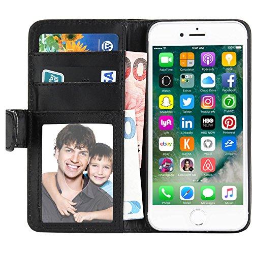 iPhone 7 Plus Hülle, EnGive Ledertasche Schutzhülle Case Tasche mit Standfunktion und Karte Halter Für iPhone 7 Plus (schwarz)