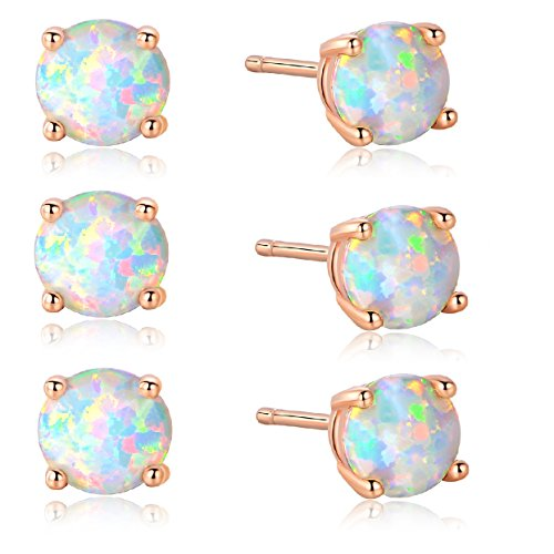 GEMSME Pack of 3 18K Rose Gold Plated Opal Stud Earrings 6MM Round For Women