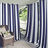 Elrene Home Fashions Indoor/Outdoor Patio Gazebo Pergola Cabana Stripe Grommet Top Single Panel Window Curtain Drape, 50 Inch Wide X 108 Inch Long, Navy (1 Panel) Review