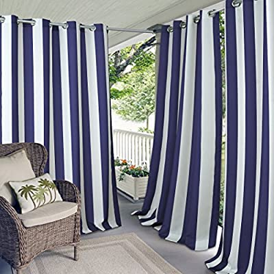 """Elrene Home Fashions Aiden Indoor/Outdoor UV Protectant Cabana Stripe Grommet Top Window Curtain Panel for Patio, Pergola, Porch, Deck, and Lanai, 50"""" x 84"""" (1, Navy - Easy to maintain. Machine washable Good to go: Easy to hang. These panels are all ready for you to put up right away. Grommet top can fit up to 1. 5 in. Rod Special features: UV protection, water repellent, fade resistant and mildew resistant - living-room-soft-furnishings, living-room, draperies-curtains-shades - 51fTQ3B1U7L. SS400  -"""