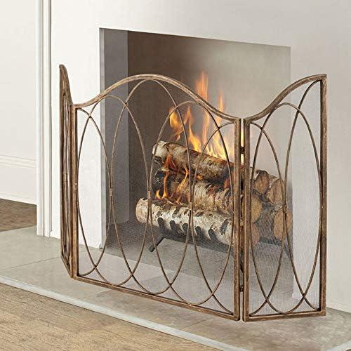 3パネル折りたたみ防火スクリーンプロテクター、幾何学的な楕円形の素朴な暖炉フェンス、犬猫用の内側の独立したスパークガード