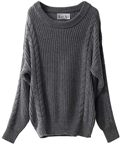 Liny Xin Women's Cashmere Oversized Loose Knitted Crew Neck Long Sleeve Winter Warm Wool Pullover Long Sweater Dresses Tops (Grey) (Best Way To Strengthen Your Wrists)