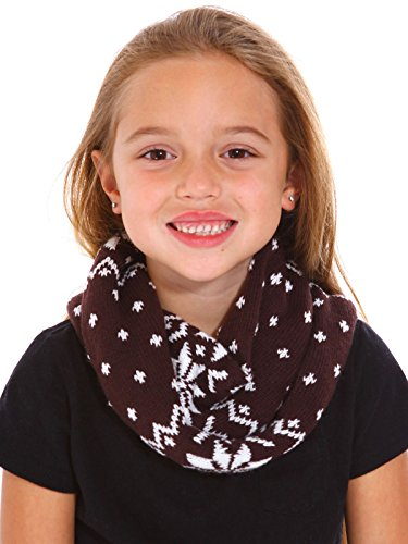 Price comparison product image Kids Neck Warmer Boys Girls Snowflake Patterned Knit Winter Infinity Scarf