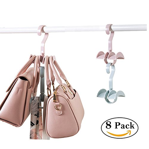 Price comparison product image Space Saver Stackable Storage Hanging Closet Organizer for Purses Handbags Tie 2 Hooks (Set of 8)