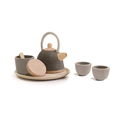 PlanToys Wooden Classic Styled Tea Party Set for a Pretend Play Tea Party (3617) | Sustainably Made from Rubberwood and Non-Toxic Paints and Dyes | Eco-Friendly PlanWood: Toys & Games