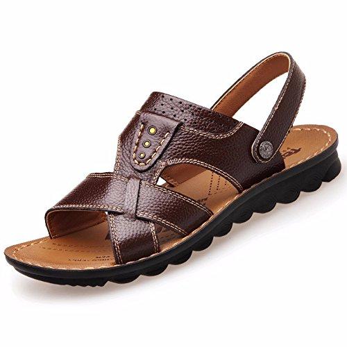 Uomini sandali Uomini vera pelle Il nuovo Spiaggia scarpa gioventù estate tendenza alunno sandali Tempo libero scarpa ,Marrone B,US=10,UK=9.5,EU=44,CN=46