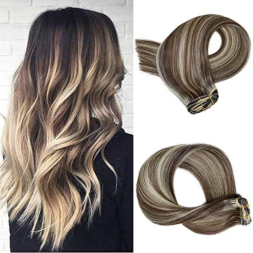 Clip in Hair Extensions 7pcs 70g Set #2/613 Dark Brown with Bleach Blonde Highlights Silky Straight Top Grade 7A Clip-in Hair Balayage Remy Hair Extensions for Women (Best Remy Hair Extensions Brand)