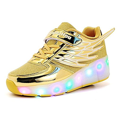 Boy Girl Roller Shoes with Light Flashing Wheels Skate Sneaker for Kids Teens with Wings