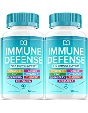 7 in 1 Immune Defense Support, Immunity Vitamins Supplement Booster with Zinc 50mg, Vitamin C Elderberry Vit D3 5000 IU, Turmeric Curcumin & Ginger, Echinacea - Allergy Relief for Kids Adults (2 Pack)