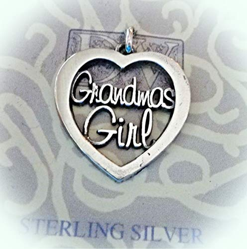 Sterling Silver 20x20mm Cut Out says Grandma's Girl Heart Charm Vintage Crafting Pendant Jewelry Making Supplies - DIY for Necklace Bracelet Accessories by CharmingSS