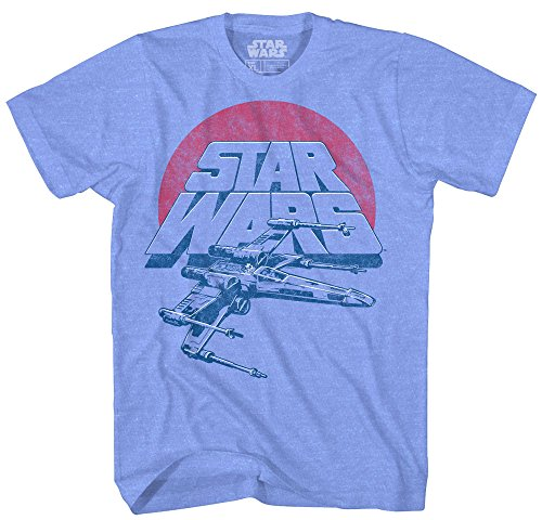 Vintage T-shirt Shirt (Star Wars Boys' Vintage Inspired X-Wing Fighter T-Shirt, Light Blue, Small)
