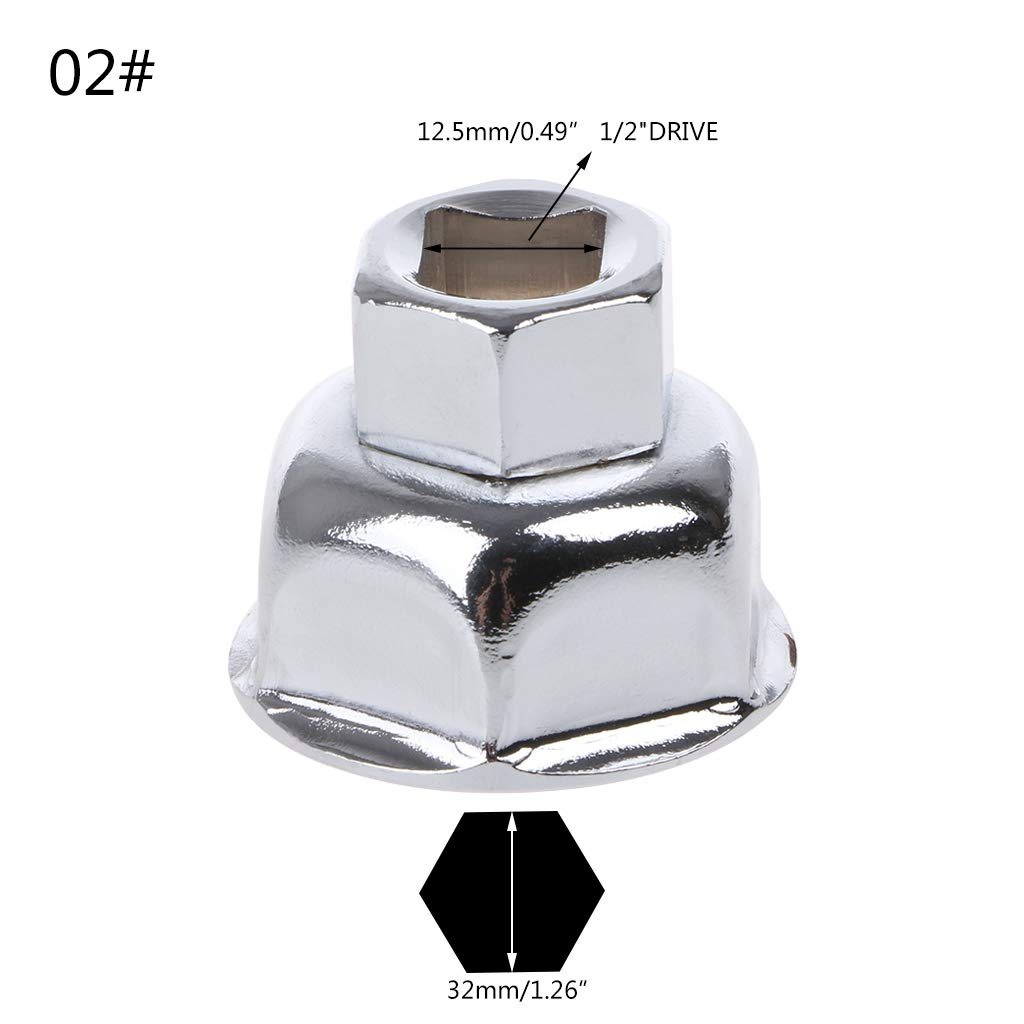 1//2 Inch Drive Car Oil Filter Wrench Cap Housing Removal Engine Tool 6 Flutes 27//32//36mm