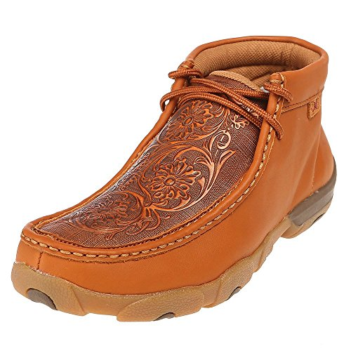 Twisted X Boots Mens Tooled Flowers Driving Moc 12 M Tan Tooled Leather Shoes