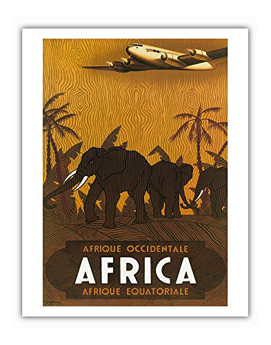 Pacifica Island Art Afrique Occidentale (West Africa) Afrique Équatoriale (Equatorial Africa) - Elephants - Vintage Airline Travel Poster by Vincent Guerra c.1946 - Fine Art Print - 11in x 14in