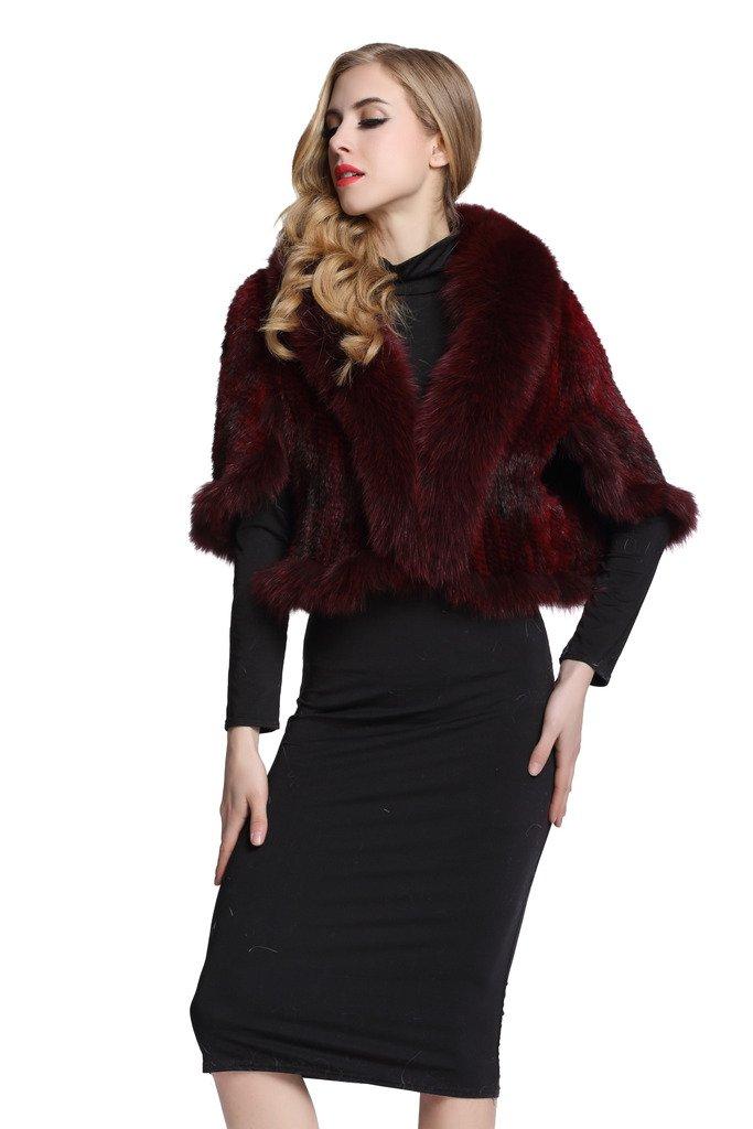 Topfur Women's Real Mink Fur Cape Shawl Stole Real Fur Trim Cappa with Fox Fur Collar(Wine Red)