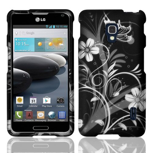Rubberized White Design Flowers - For LG Optimus F6 D500 / MS500 (T-Mobile/MetroPCS) Rubberized Design Cover - White Flowers