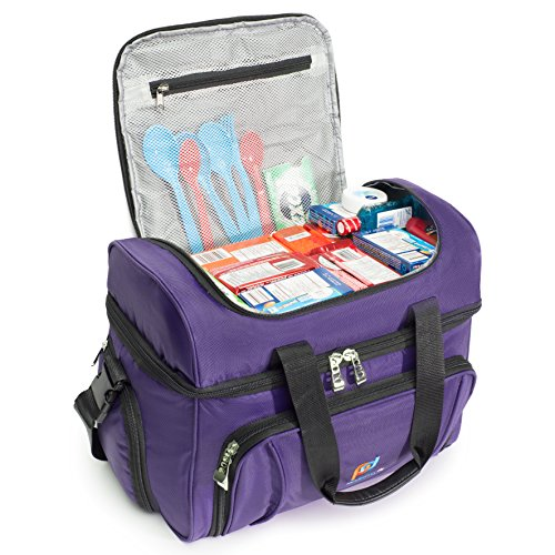Mojecto Large Cooler Bag -15x12x9 Inches.Two Insulated Compartments, Heavy Duty Polyester, High Density Insulation, 2 Heat Sealed Removable Peva Liner, Many Pockets, Strong Double Zipper. (Purple)
