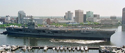 Home Comforts Laminated Poster The Nimitz Class Aircraft Carrier USS Theodore Roosevelt transits The Elizabeth River After Spending Vivid Imagery Poster Print 24 x 36 ()
