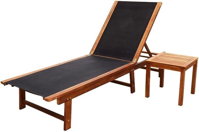vidaXL Bois d'Acacia Solide Chaise Longue avec Table Textilène Jardin Terrasse