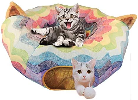 HOMEYA Cat Dog Tunnel Bed with Mat, Collapsible 3 Way Cat Tube Condo Play Toy with Peek Hole Fun Ball Indoor Outdoor Interactive Hideout Exercising House Toys for Pet Kittens Kitty