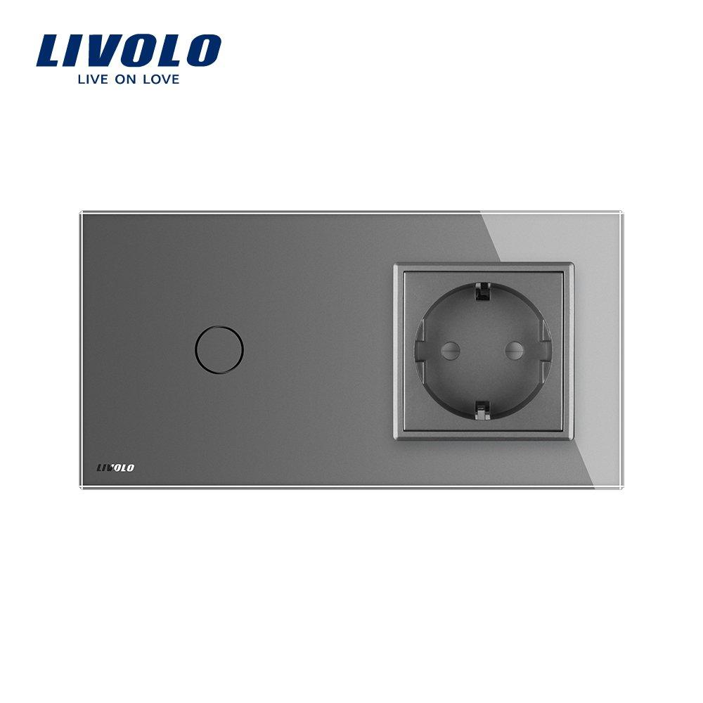 LIVOLO Grau Lichtschalter mit Steckdose 1 Gang Wandsteckdosen mit ...