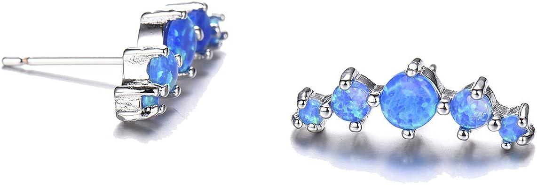 GEMSME 925 Sterling Silver Created Birthstone Gemstone Opal and Created Sapphire Halo Stud Earrings
