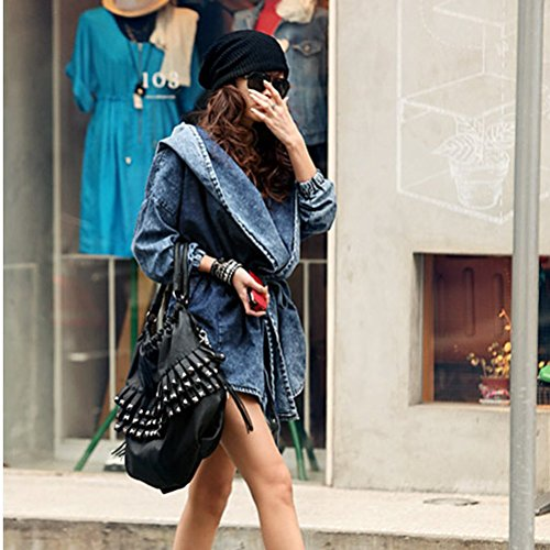 Denim Sleeves Women's long Hooded Blue Trench Coat Jacket Jean Medium UEETEK Outerwear qZURw6nEx