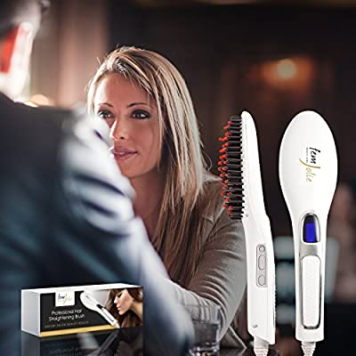 FemJolie Hair Straightener Brush Best for Beauty Styling (with Velvet Vanity Pouch) - 3 in 1 Professional Digital Electric Straightening Comb - Premium Heated Ceramic Supplies - Salon Care Products