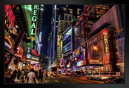 Illuminated Poster Marquees (New York City Times Square Theater District Illuminated at Night Photo Art Print Framed Poster 18x12 by ProFrames)