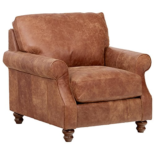 Stone Beam Charles Classic Oversized Leather Accent Arm Chair