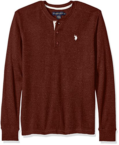 U.S. Polo Assn. Men's Long Sleeve Slim Fit Fleck Thermal Henley Pullover, Burgundy Heather, Large -