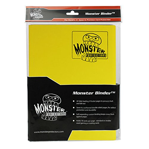 Monster Binder - 9 Pocket Trading Card Album - Matte Yellow - Holds 360 Yugioh, Magic, and Pokemon Cards by Monster Protectors