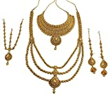 {Special 10% Discount} MUCHMORE Indian Style Golden Plated Polki Kundan Stone Indian Bridal Set