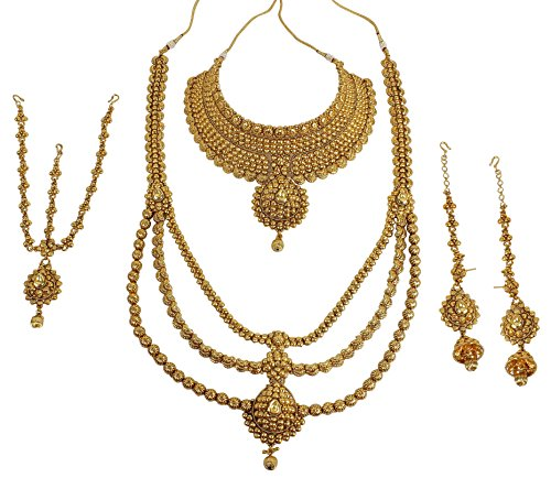 {Special 10% Discount} MUCHMORE Indian Style Golden Plated Polki Kundan Stone Indian Bridal Set by Muchmore