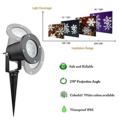 Christmas Projector Light Outdoor, Malivent LED Snowfall Rotating Snowflake Projector Lights Waterproof Low Voltage Power with Wireless Remote Control Decorative for Halloween New Year Patio Garden